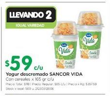 Oferta de Yogur descremado SANCOR VIDA 165gr  por $59
