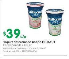 Oferta de Yogur descremado batido MILKAUT 190gr  por $39