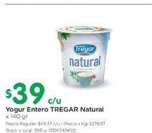 Oferta de Yogur entero tregar natural 140gr por $39
