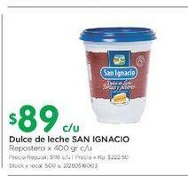 Oferta de Dulce de leche 400gr SAN IGNACIO  por $89