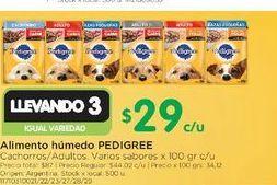 Oferta de Alimento h{umedo Pedigree 100gr  por $29