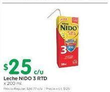 Oferta de Leche NIDO 3 RTD 200ml  por $25