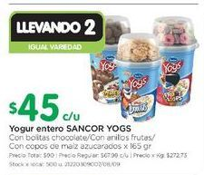 Oferta de Yogur entero Sancor Yogs 165gr por $45