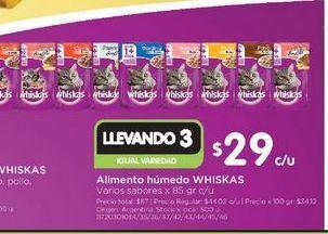 Oferta de Alimento humedo Whiskas 85 gr por $29