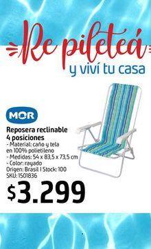Oferta de Reposera reclinable 4 posiciones MOR  por $3299