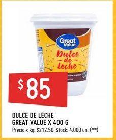 Oferta de Dulce de leche Great Value 400g  por $85