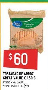 Oferta de Tostadas de arroz Great Value 150g  por $60
