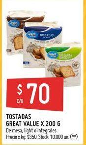 Oferta de Tostadas Great Value 200g  por $70