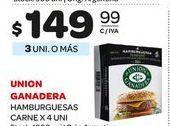 Oferta de Hamburguesas de carne union ganadera 4uni  por $149,99