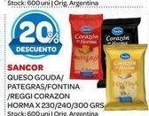 Oferta de Queso gouda/pategras/fontina/reggi corazon Sancor por