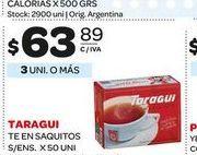 Oferta de Te en saquitos 50un Taraguí por $63,89