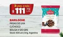 Oferta de Pasas de uva c/choco 120grs Bariloche por $111,79