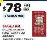 Oferta de Salchichas VIENA FLOW PACK X 6UNI 225GRS  Granja Iris por $78,99