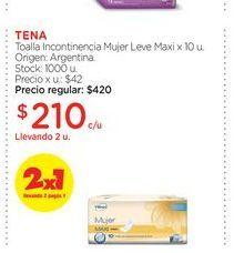 Oferta de Toalla Incontinencia Mujer Leve Maxi x 10 u. por $210