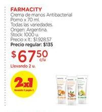 Oferta de Crema de manos Antibacterial Pomo x 70 ml. FARMACITY por $67,5