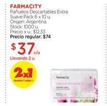 Oferta de FARMACITYPañuelos Descartables Extra Suave Pack 6 x 10 u. por $37