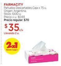Oferta de FARMACITYPañuelos Descartables Caja x 75 u. por $35