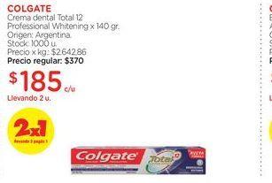 Oferta de COLGATECrema dental Total 12 Professional Whitening x 140 gr. por $185