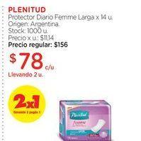 Oferta de PLENITUDProtector Diario Femme Larga x 14 u. por $78