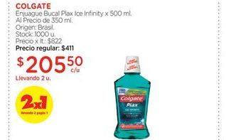 Oferta de COLGATEEnjuague Bucal Plax Ice Infinity x 500 ml. Al Precio de 350 ml. por $205,5