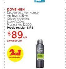 Oferta de DOVE MENDesodorante Men Aerosol Ap Sport x 89 gr. por $89