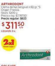 Oferta de ARTHRODONTCrema dental Gengival x 80 gr. por $311,5