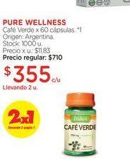 Oferta de PURE WELLNESSCafé Verde x 60 cápsulas. por $355