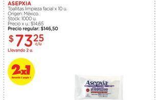 Oferta de ASEPXIAToallitas limpieza facial x 10 u. por $73,25