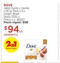 Oferta de DOVEJabón Karite y Vainilla x 90 gr. Pack x 3 u. por $94