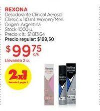 Oferta de REXONADesodorante Clinical Aerosol Classic x 110 ml. por $99,75