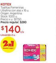 Oferta de Toallitas Femeninas Ultrafina con alas x 16 u. Kotex por $140