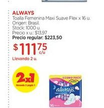 Oferta de ALWAYSToalla Femenina Maxi Suave Flex x 16 u. por $111,75
