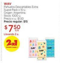 Oferta de WAVPañuelos Descartables Extra Suave Pack x 10 u. por $7,5