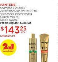 Oferta de Shampoo x 270 ml./Acondicionador 3MM x 170 ml.  Pantene por $143,25