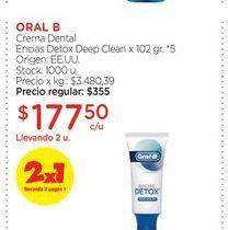 Oferta de ORAL BCrema Dental Encias Detox Deep Clean x 102 gr. por $177,5