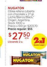 Oferta de NUGATONOblea rellena cubierta con chocolate x 27 gr. por $27,5