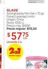 Oferta de GLADEAromatizante Mini Gel x 70 gr. por $57,75