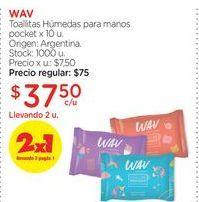 Oferta de WAVToallitas Húmedas para manos pocket x 10 u. por $37,5