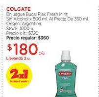 Oferta de COLGATEEnjuague Bucal Plax Fresh Mint Sin Alcohol x 500 ml. Al Precio De 350 ml. por $180