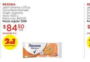 Oferta de REXONAJabón Glicerina x 270 gr. por $84,5