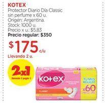 Oferta de KOTEXProtector Diario Día Classic sin perfume x 60 u. por $175
