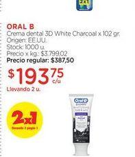 Oferta de ORAL BCrema dental 3D White Charcoal x 102 gr. por $193,75