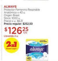 Oferta de ALWAYSProtector Femenino Respirable Anatómico x 40 u. por $126,25