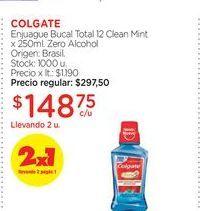 Oferta de COLGATEEnjuague Bucal Total 12 Clean Mint x 250ml. Zero Alcohol por $148,75