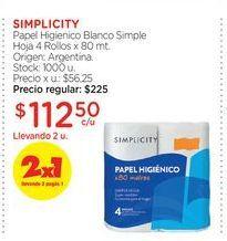Oferta de SIMPLICITYPapel Higienico Blanco Simple Hoja 4 Rollos x 80 mt. por $112,5