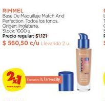 Oferta de RIMMEL	Base De Maquillaje Match And Perfection. por $560,5