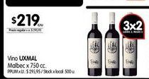 Oferta de Vino UXMAL malbec x 750cc  por $219