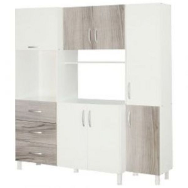 Oferta de Mueble Aparador de Cocina MÁXIMO 7 Puertas 3 Cajones Blanco / Gris por $24301