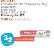 Oferta de COLGATECrema Dental Total 12 Clean Mint x 30 gr. por $48