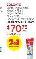 Oferta de COLGATECrema Dental Smile Minion x 75 ml. por $70,75